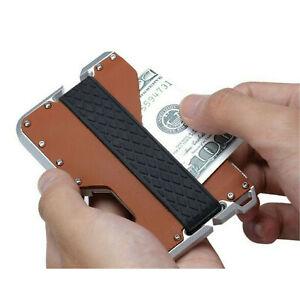 Porte-cartes en cuir pour hommes RFID Metal Mens Wallet Money Band Clip
