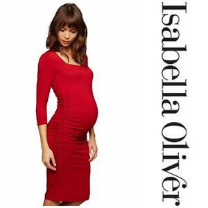 NWT Isabella Oliver Sz 3 US 8 Red Square Neck Maternity Bodycon Dress New