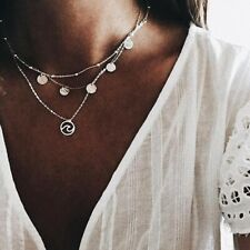 Jewelry Fashion Wave Necklace Coin Pendant Multi-layer Chain Bib Btatement
