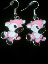Adorable Pink Strawberry Milk Cow Dangle Earrings