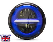 "Motorbike Headlight Insert Projector 5.75"" Blue LED Daytime Running Lights"