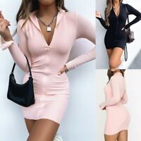 Women's Sexy Slim Zipper Mini Dress Lady Long Sleeve Bodycon Party Jacket Dress