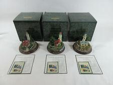 Lot of 3 Thomas Kinkade Seaside Memories Lighted Lighthouses Figurines
