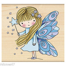 New Penny Black FAIRY DUST Wood Rubber Stamp Girl Wand Stars Wings Magic