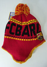 FC Barcelona Soccer BEANIE Snow Cap Sports Hat With Tassels Red FCB New