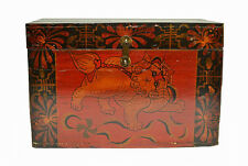 Nice Chinese Antique Wooden Storage Box Chest with Painted Foo Dog Lion Mar9-07