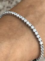 """Tennis Bracelet Sterling Silver 925 Round Simulated Diamond 7"""" inch 3.40mm 9.6g"""