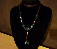 Bruine touw ketting donker turquoise zwart gevlekte luipaard keramische bollen