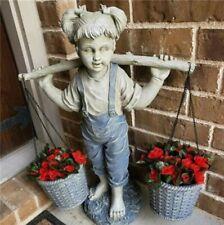 Girl Flower Pot Craft Statue Sculpture Ornament Figure Garden Yard Outdoor Decor