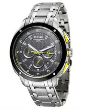 Seiko Pulsar Watch * PT3393 Chronograph Black Yellow SIlver Steel COD PayPal