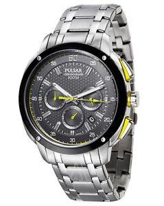 Seiko Pulsar Watch * PT3393 Chronograph Black Yellow SIlver Steel COD PayPal