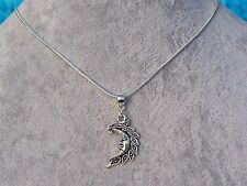Bewitching Crescent Moon Pendant 925 Sterling Silver Plated Snake Chain Necklace