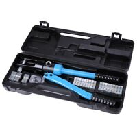 16 Ton Hydraulic Wire Crimper 12 Dies Crimp Tool Battery Cable w/ Case INCD VAT