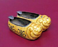 Vintage Chinese Yellow Enameled Metal Mini Slippers Ashtray w/ Cigarette Holders