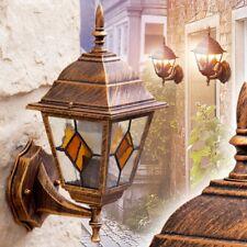 Klassische Aussen Wandleuchte Garten Wand Lampe Glas Hof Wandlampe braun gold