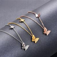 Edelstahl Schmetterling Halskette Kette Strass Rose Gold Silber Collier