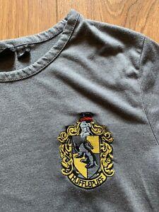 Harry Potter Hufflepuff Tshirt Size 12-14 Grey And Yellow