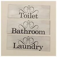 Bathroom Laundry Toilet Room Door Elegant Sign Wall Plaque or Hanging Vintage