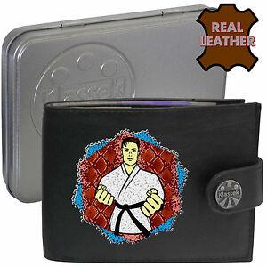 Black Belt Martial Arts Karate Taekwondo Klassek Leather Wallet gift present Tin