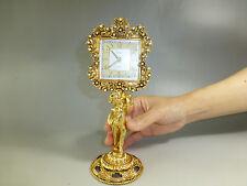 Rare Vintage German Gold Gilt Ormolu Ornate Mantel Alarm Clock (Watch The Video)