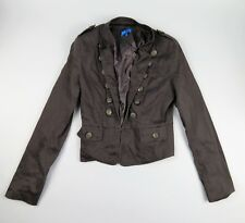 Valleygirl Charcoal Cropped Jacket Size 10 Epaulettes