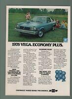 1975 VINTAGE PRINT AD - CHEVROLET CHEVY 1975 VEGA. ECONOMY PLUS. GM