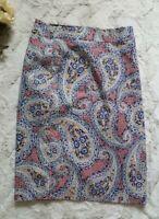 J Crew No 2 Pencil Skirt Red Blue Paisley Print Cotton Blend Size 6