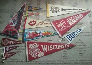 (12) Wisconsin Milwaukee Brewers Badgers Vintage 1969 Pennant miller impko felt