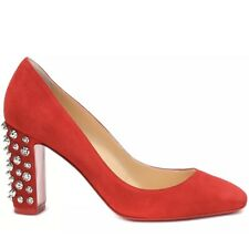 Christian Louboutin Donna Stud Spike Red Silver Block Heel Pump Size 35.5 NO BOX