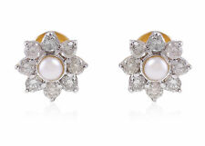 Stunning 2.87 Cts Natural Diamonds Pearl Stud Earrings In Fine Hallmark 14K Gold