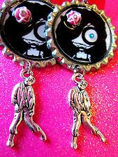 Day Of The Dead Sugar Skull With Walking Dead Zombie Dangle Charm Earrings #64