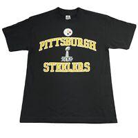 2011 Pittsburgh Steelers LOGO Shirt Mens M NFL Official Super Bowl XLV Black Tee