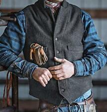 Retro Tweed Mens Blend Herringbone Lapel Plaid Vests Casual Sleeveless Waistcoat