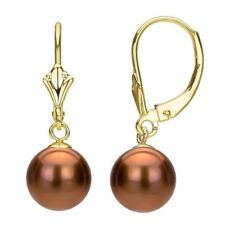 Pearl Earrings 14k Yellow Gold Leverback Design 8-9mm Brown Round Freshwater