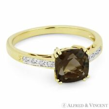 Right Hand Ring in 14k Yellow Gold 1.40ct Cushion Cut Smoky Topaz Round Diamond