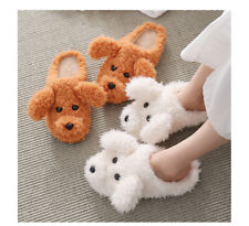 Dog Slippers Bedroom Puppy Plush Poodle Toy Novelty Shoes Soft Animal Pets Fur
