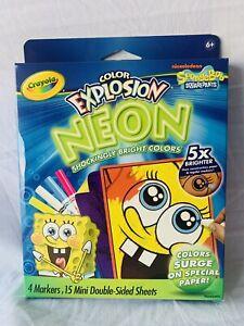 Crayola Color Explosion Neon SpongeBob Squarepants Markers & Sheets NEW!