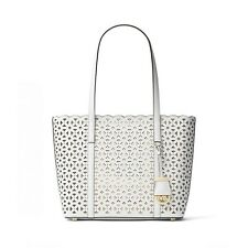 New Michael Kors Desi Small Travel Tote Optic White Perforated Saffiano leather
