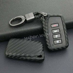 For Lexus IS/ES/NX/RX/GS/LX/RC Carbon Fiber Soft Shell Key Chain Fob Case Cover