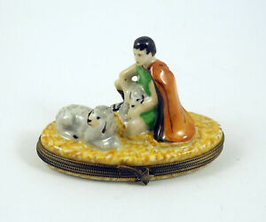 New Hand Painted French Limoges Trinket Box Shepherd with Sheep