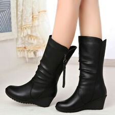 Women's Wedge Platform Boots Side Zip Round Toe High Heels Fashion Leather Shoes