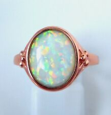 """DELICATE GREEN FIRE OPAL  ROSE GOLD  PLATED  RING UK Size """"R"""" US 9"""
