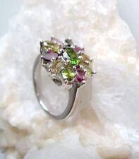 multicolor Ring mit Turmalinen, 925er Silber, Gr. 18,1 - Turmalin - rhodiniert