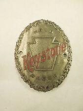 Vintage Keystone Road Racer with Red Lettering Bicycle Head Badge Emblem