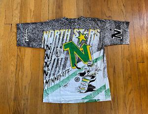 Vintage 90's Single Stitch Minnesota North Stars All Over Print Mens M NWOT NHL