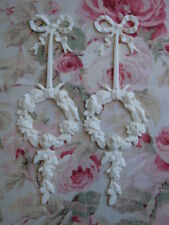 NEW! Shabby & Chic Bow Rose Wreath Drop 2 pcs Furniture Applique Architectural
