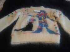 Professionally Handknit Mohair Sweater ~Clown Motif ~ VINTAGE~ UNIQUE!