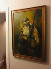 Original Oil PAINTING ~ BEAUTIFUL Colour Patina ~ 100cm WISE MAN SHEPHERD Signed