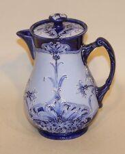 Signed William Moorcroft James Macintyre Pottery Florian Ware Blue Chocolate Pot