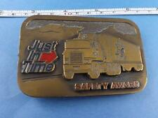 JUST IN TIME TRUCKING CO SAFETY AWARD VINTAGE BELT BUCKLE TRUCKER CD HIT USA